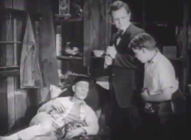 Shadows - Yen Sing Lon Chaney lying on death bed with Bengal tabby cat at his side plus boy Buddy Messenger and Nate Snow John St. Polis