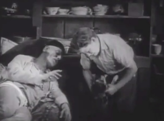 Shadows - Yen Sing Lon Chaney lying on death bed with boy Buddy Messenger putting Bengal tabby cat into basket