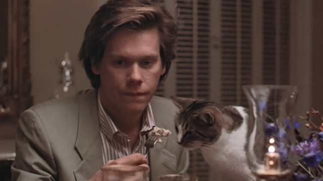 She's Having a Baby - Jake Kevin Bacon sitting at table with cat eating from fork