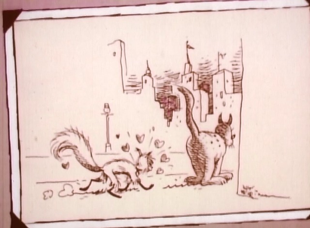 Shinbone Alley - Mehitabel cat chasing after tom cat in style of George Herriman