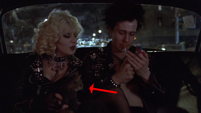 Sid and Nancy - Nancy Chloe Webb with tabby kitten in taxi with Sid Gary Oldman