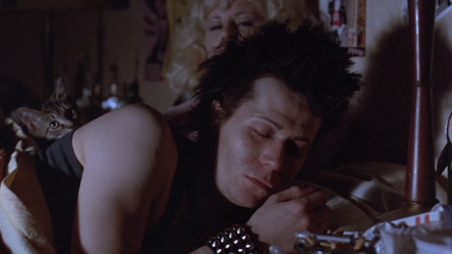 Sid and Nancy - Nancy Chloe Webb and Sid Gary Oldman wasted in bed with tabby kitten