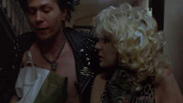 Sid and Nancy - Nancy Chloe Webb and Sid Gary Oldman wasted changing rooms with tabby kitten