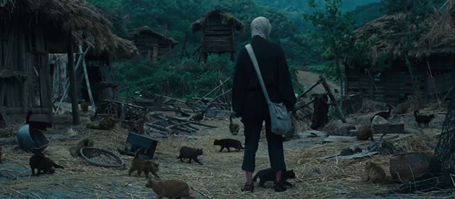 Silence - Rodrigues Andrew Garfield standing in deserted village full of cats