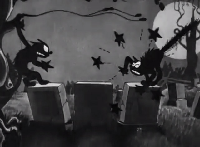 The Skeleton Dance - black cats pull each others' noses on tombstones at night