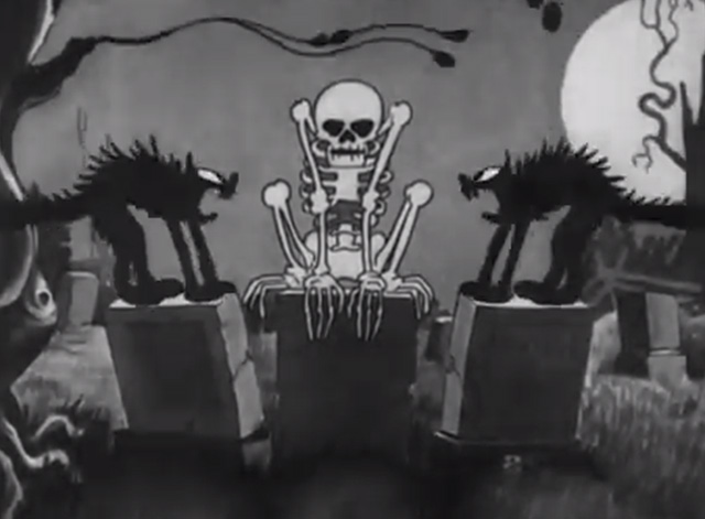 The Skeleton Dance - black cat scared by skeleton on tombstones at night