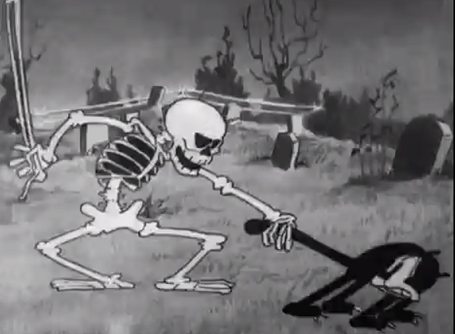 The Skeleton Dance - black cat's tail grabbed by skeleton