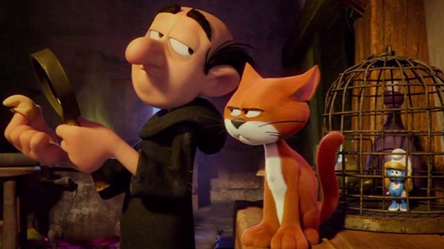 Smurfs: The Lost Village - Gargamel looking smug and Azrael cat looking angry