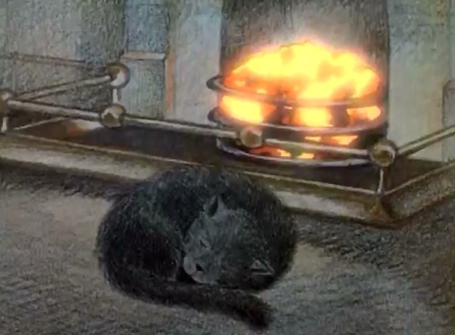 The Snowman - cat sleeping in front of fire