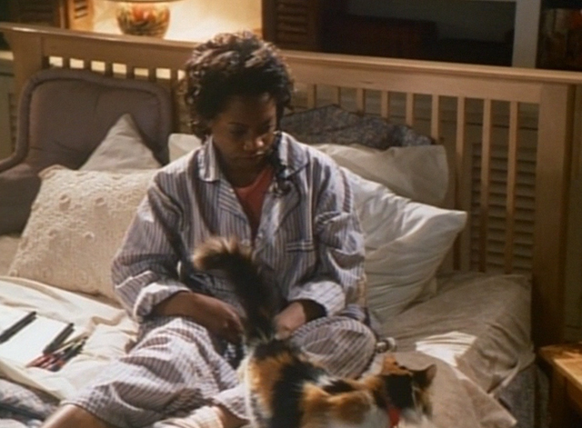 Spirit Lost - long haired calico cat Spider on bed with Willy Regina Taylor