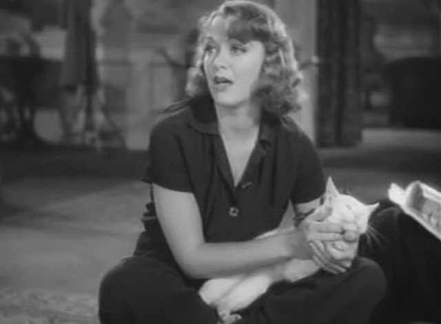 Stage Door - white cat Whitey happy with Eve Arden