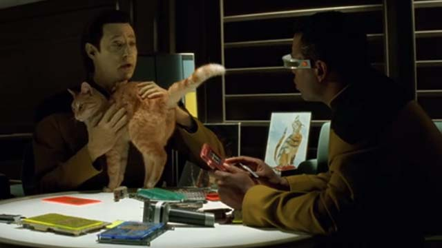 Star Trek: Generations - Spot orange tabby cat on table held by Data Brent Spiner with Geordi Levar Burton