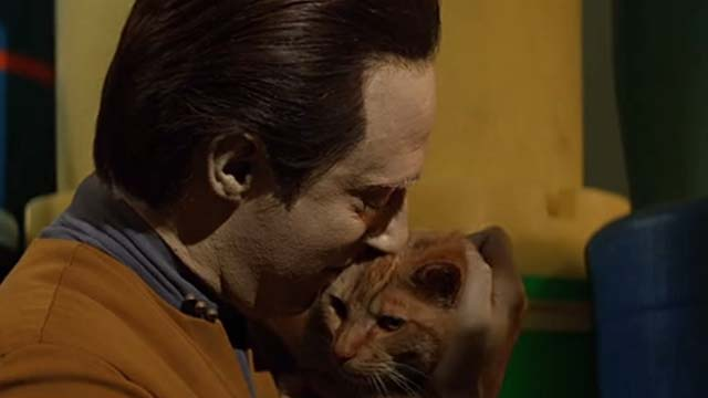 Star Trek: Generations - Spot orange tabby cat being hugged by Data Brent Spiner