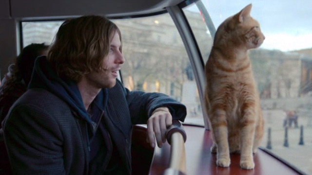 A Street Cat Named Bob - James Bowen Luke Treadway with orange tabby Bob on bus