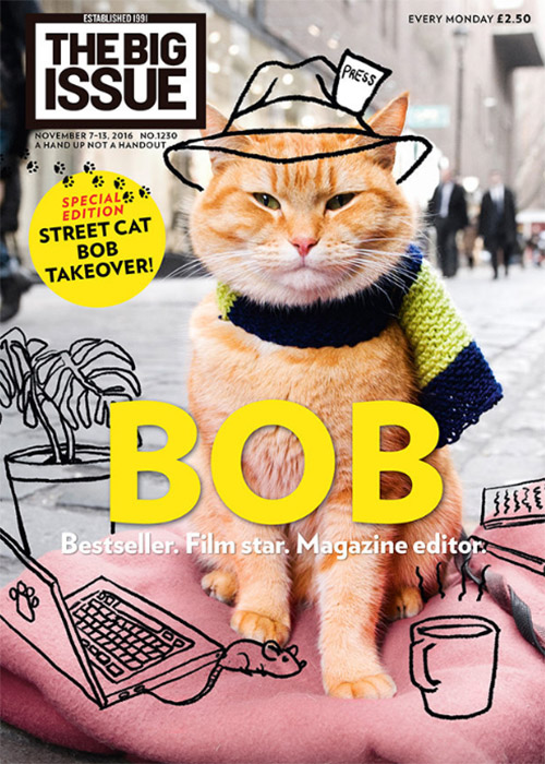 A Street Cat Named Bob - orange tabby Bob on cover of The Big Issue