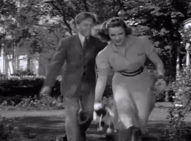 Strike Up the Band - Jimmy Mickey Rooney with Mary Judy Garland dropping tuxedo kitten to ground