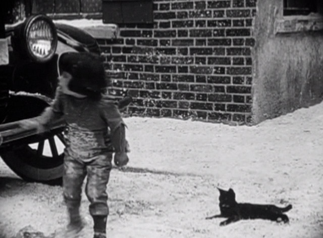 Such is Life - Baby Peggy turning to car with tuxedo cat in street
