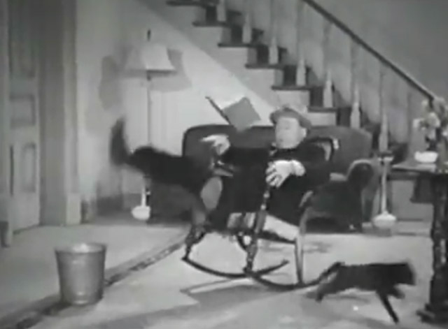 Sue My Lawyer - Harry Langdon falling out of rocking chair with black cat running away