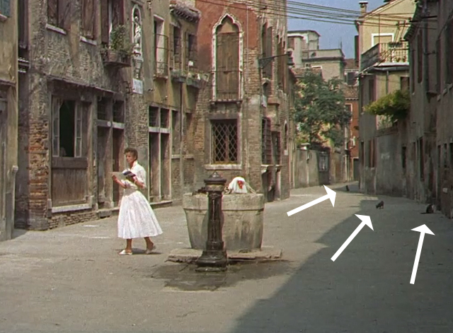 Summertime - Jane Hudson Katharine Hepburn on streets with cats in background