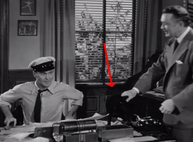 Suspense - Frank Leonard Albert Dekker sets black cat down in box on desk with Joe Barry Sullivan