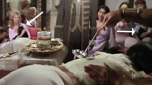Swashbuckler - long haired black cats and women in background while Lord Durant Peter Boyle gets waxed