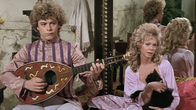 Swashbuckler - long haired black cat held by a woman next to the lute player