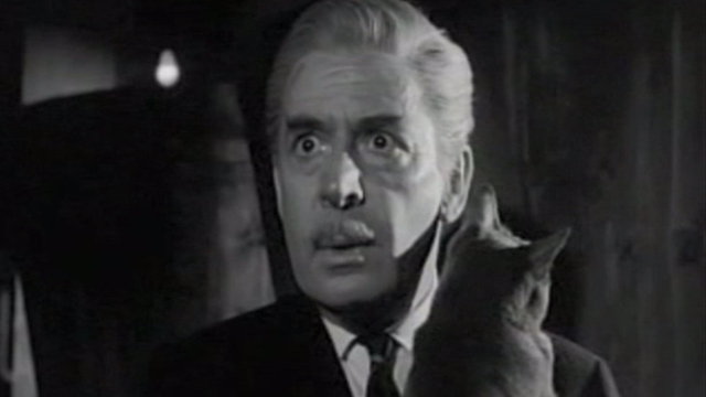 Ten Little Indians - close up of shocked General Mandrake Leo Genn holding gray cat