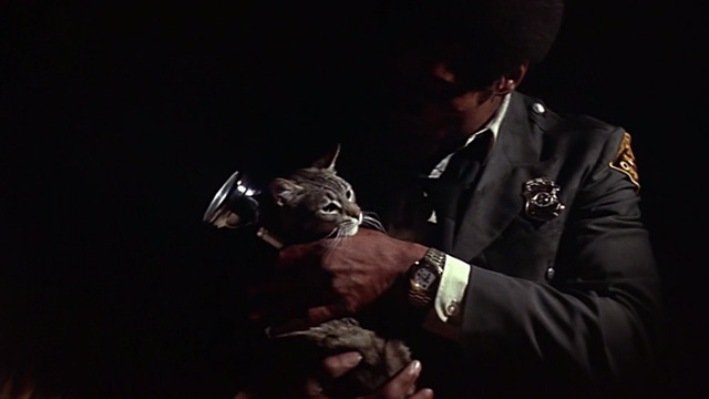 The Towering Inferno - tabby cat Elke being picked up by Jernigan O.J. Simpson