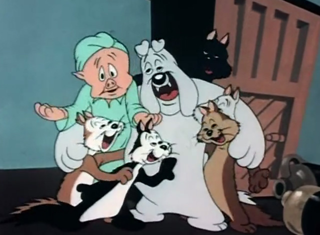Trap Happy Porky - Porky Pig singing with drunk cats and bulldog