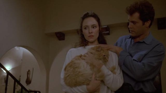 Unlawful Entry - Karen Madeleine Stowe holding orange long-haired tabby cat Tiny with Officer Pete Ray Liotta