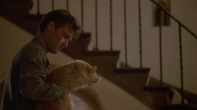 Unlawful Entry - Michael Kurt Russell picking up orange long-haired tabby cat Tiny