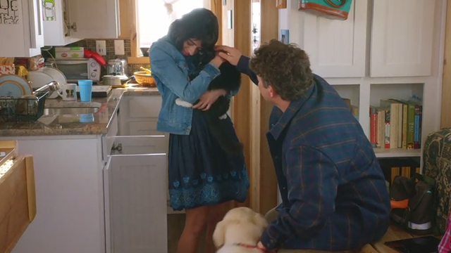 Unleashed - Emma Kate Micucci hugging tuxedo cat Ajax with Carl Sean Astin and dog Summit