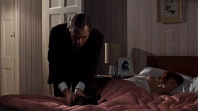 Villain - Bob Matthews Nigel Davenport picking up long haired tabby cat from bed