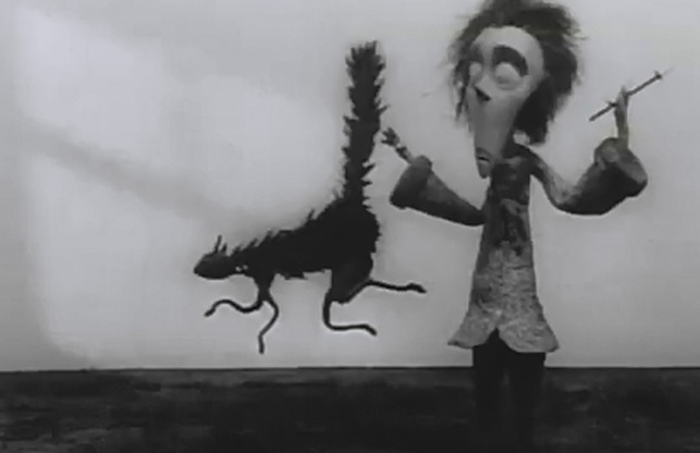 Vincent Tim Burton animated short black cat jumps and runs