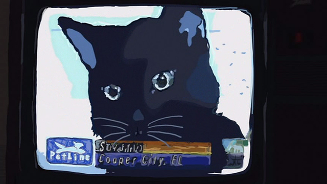Waking Life - black cat on television screen