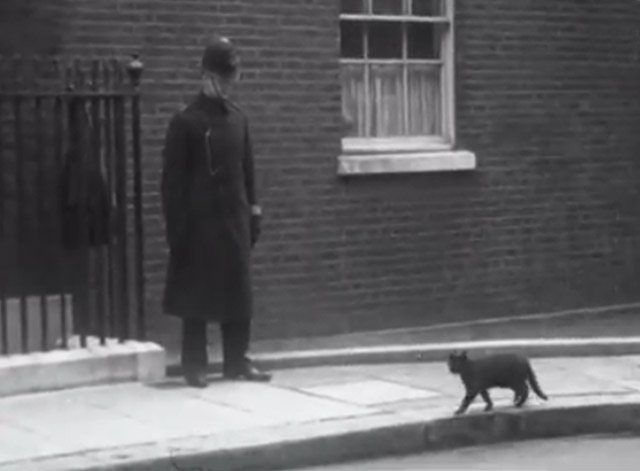 War Cabinet 1940 - black cat walking along sidewalk with guard watching