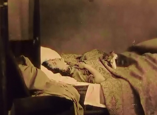 When a Man Loves - tabby kitten Fifi on bed with Manon Dolores Costello