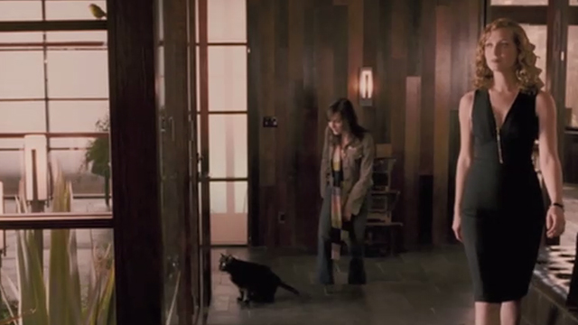 When a Stranger Calls - black cat Chester sitting outside atrium with Jill Camilla Belle