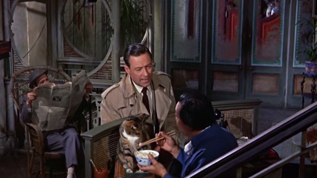The World of Suzie Wong - Robert Lomax William Holden approaching Ah Tong Andy Ho feeding tabby cat with chopsticks