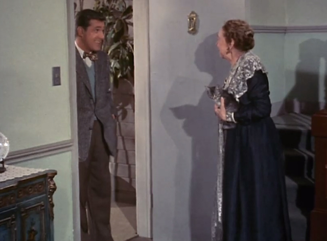 Adventures of Superman - Olsen's Millions - Mrs. Peabody Elizabeth Patterson holding tabby kitten Topsy opens door to Jimmy Olsen Jack Larson