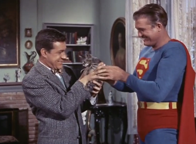 Adventures of Superman - Olsen's Millions - Superman George Reeves handing tabby kitten Topsy to Jimmy Olsen Jack Larson
