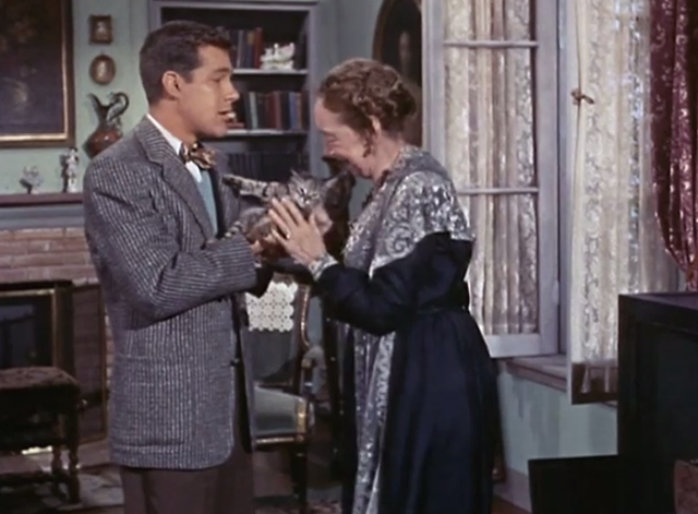 Adventures of Superman - Olsen's Millions - Mrs. Peabody Elizabeth Patterson taking tabby kitten Topsy from Jimmy Olsen Jack Larson