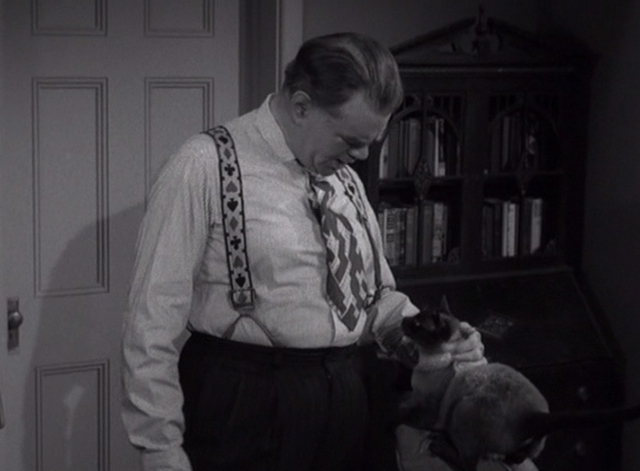 Alfred Hitchcock Presents - The Big Switch - Dunleavy George Matthews petting Siamese cat Schultz on back of chair