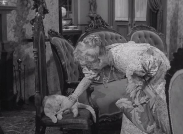 Alfred Hitchcock Presents - There Was an Old Woman - orangy tabby cat Tippie on chair with Monica Laughton Estelle Winwood