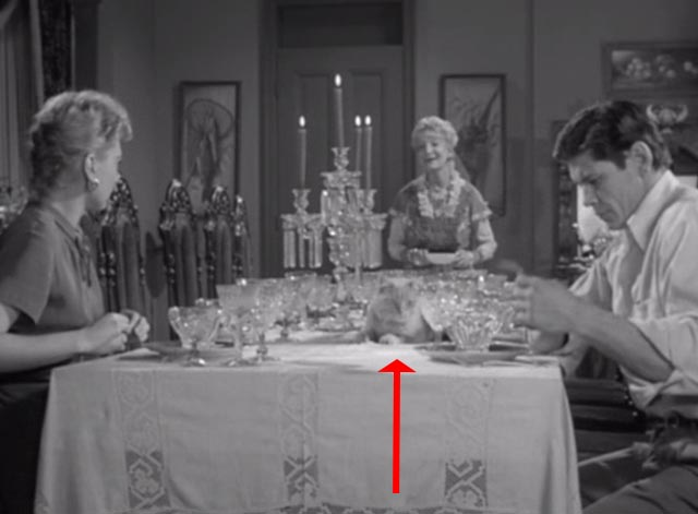 Alfred Hitchcock Presents - There Was an Old Woman - orangy tabby cat Tippie on table with Estelle Winwood Charles Bronson and Norma Crane