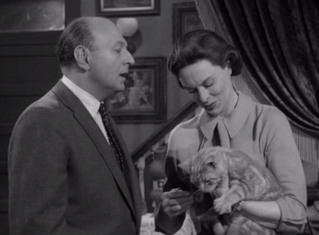 Alfred Hitchcock Presents - The Orderly World of Mr. Appleby - Martha Meg Mundy holding orangy tabby cat Dicky with Appleby Robert H. Harris