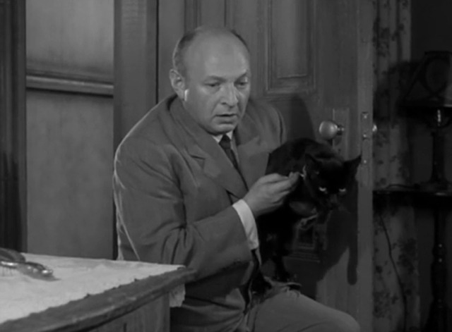 Alfred Hitchcock Presents - Albert looking at cat's collar