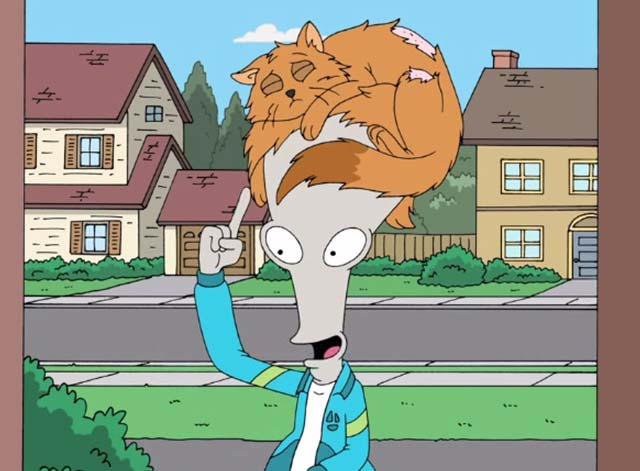 American Dad - Choosy Wives Choose Smith - Roger the alien wearing orange cat Simon on his head