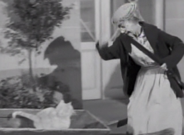 The Beverly Hillbillies - Drysdale's Dog Days - Granny Irene Ryan telling Rusty cat Orangey to get out of wheelbarrow