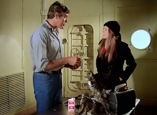 The Bionic Woman - Iron Ships and Dead Men - Bob and Jamie Lindsay Wagner feeding cats again
